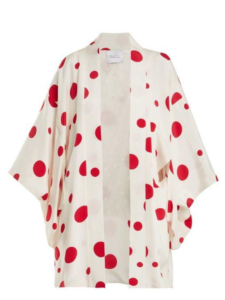 Racil - Sayuri Dot Print Silk Kimono Jacket - Womens - Red White