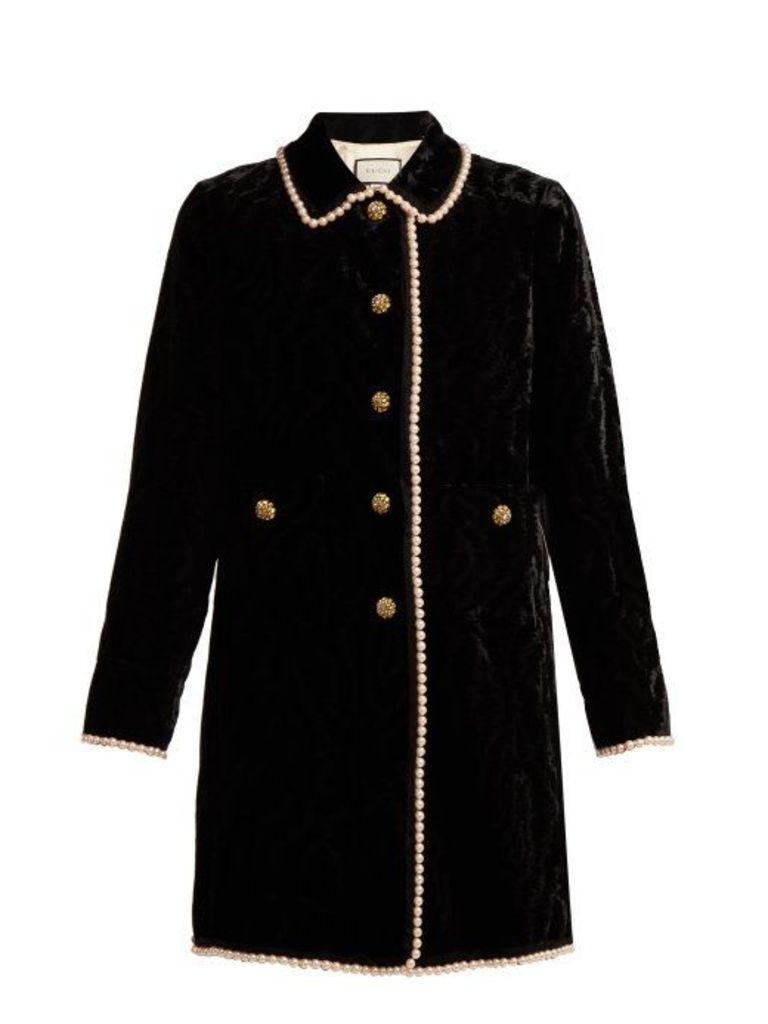 Gucci - Faux Pearl And Crystal Embellished Velvet Jacket - Womens - Black