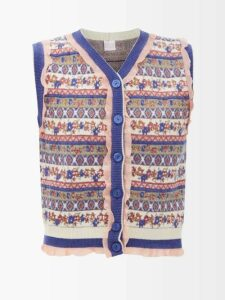 Erdem - Kathryn Keiko Diamond Print Silk Dress - Womens - Blue Print