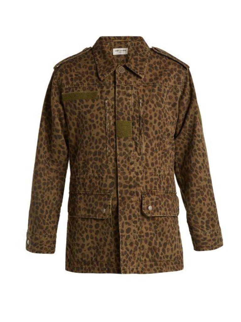 Saint Laurent - Leopard Print Denim Jacket - Womens - Leopard