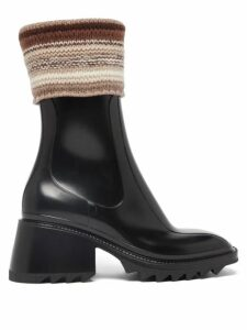 Chloé - Contrast-topstitching Denim Shirt - Womens - Dark Blue