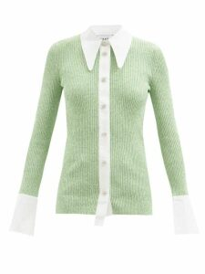 Alexander Mcqueen - Zip Sleeved Step Hem Wool Blend Sweater - Womens - Green White