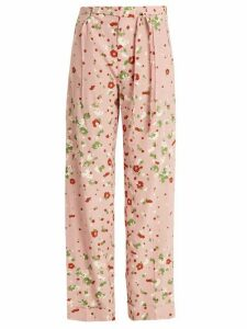 Valentino - Daisy-print Silk Crepe De Chine Trousers - Womens - Pink Print