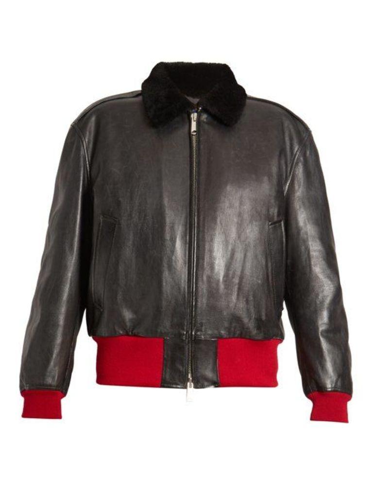 Calvin Klein 205w39nyc - Bi Colour Leather Bomber Jacket - Womens - Black Multi