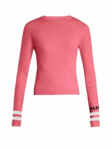 Valentino - Logo Intarsia Striped Stretch Knit Sweater - Womens - Pink Multi
