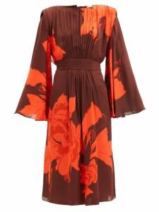 Haider Ackermann - Polka-dot Print Pleated Chiffon Sweatshirt - Womens - Black White