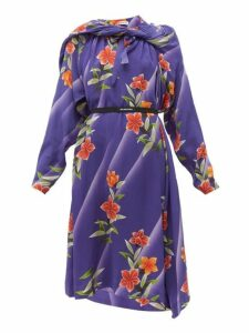 Balenciaga - Floral Print Twisted Silk Dress - Womens - Purple Print