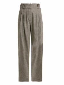 Balmain - Prince Of Wales Checked Virgin Wool Trousers - Womens - Grey Multi