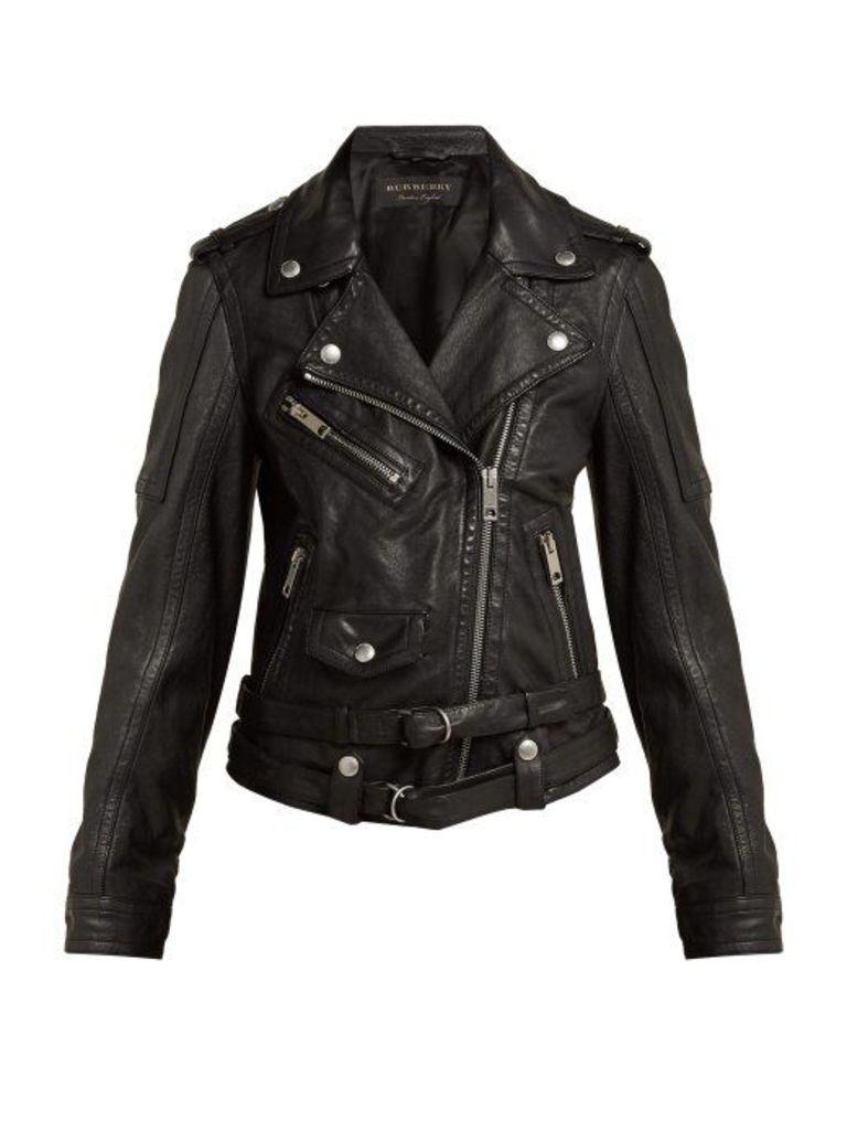 Burberry - Leather Biker Jacket - Womens - Black