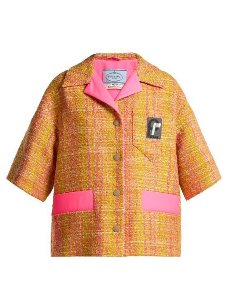 Prada - Cropped Tweed Jacket - Womens - Yellow Multi
