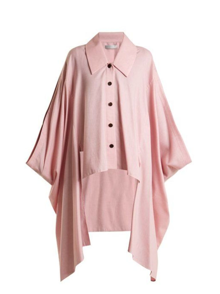 Palmer//harding - Cotton And Wool Blend Cape - Womens - Pink