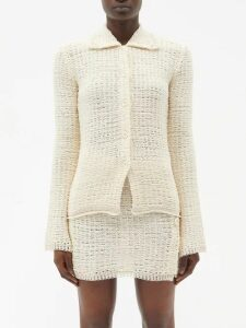 Jupe By Jackie - Floral Embroidered Slim Leg Silk Velvet Trousers - Womens - Pink