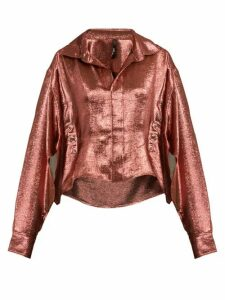 Paula Knorr - Big Long-sleeved Silk-blend Lamé Shirt - Womens - Gold
