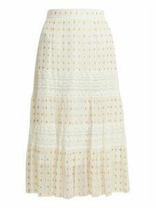 Temperley London - Wondering Lace Insert Fil Coupé Chiffon Midi Skirt - Womens - White