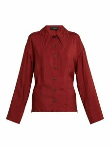 Joseph - Point-collar Blouse - Womens - Burgundy