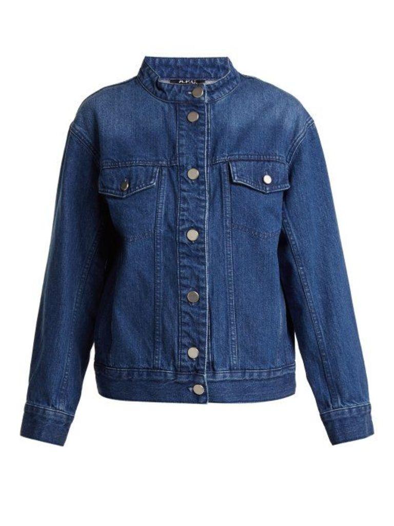 A.p.c. - Bailey Collarless Oversized Denim Jacket - Womens - Denim