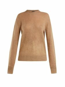 Joseph - Brushed Mohair Blend Crew Neck Sweater - Womens - Camel