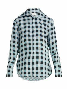 Wales Bonner - Checked-jacquard Shirt - Womens - Blue White