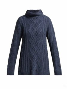 Queene And Belle - Hester Funnel Neck Cashmere Sweater - Womens - Navy