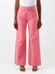 Diane Von Furstenberg - Contrast-panel Silk Crepe De Chine Top - Womens - Burgundy Multi