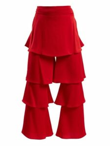Osman - Felix Tiered Satin Trouser - Womens - Red