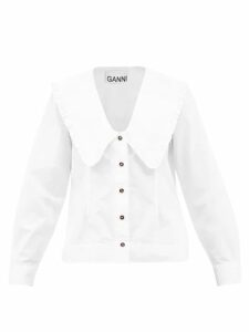 Prada - Comic Print Cotton Jersey And Silk Dress - Womens - Pink Multi