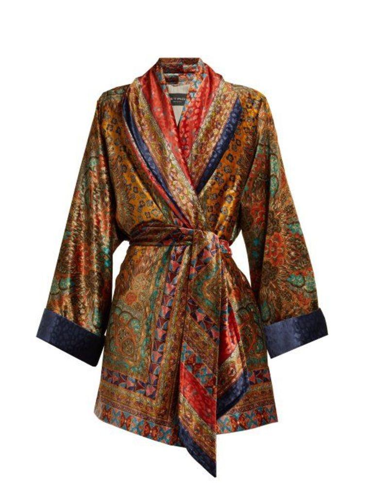 Etro - Sunstone Printed Devoré Velvet Jacket - Womens - Yellow Multi