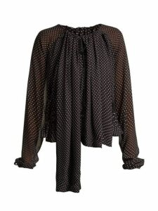 Loewe - Polka-dot Ruched Blouse - Womens - Black White