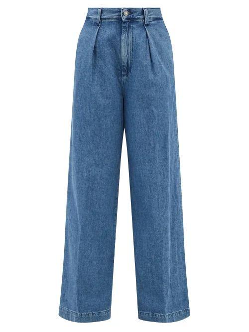 Ganni - Cameron Polka Dot Wide Leg Trousers - Womens - Brown Print