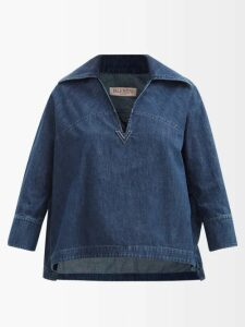 Johanna Ortiz - Let's Dip Balloon-sleeve Silk Blouse - Womens - Black White