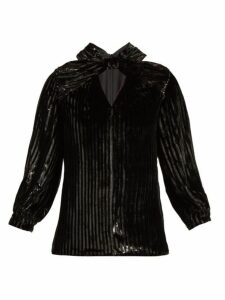 Erdem - Zadie Striped Velvet Top - Womens - Black