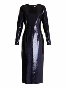 Diane Von Furstenberg - Round Neck Sequin Embellished Dress - Womens - Navy