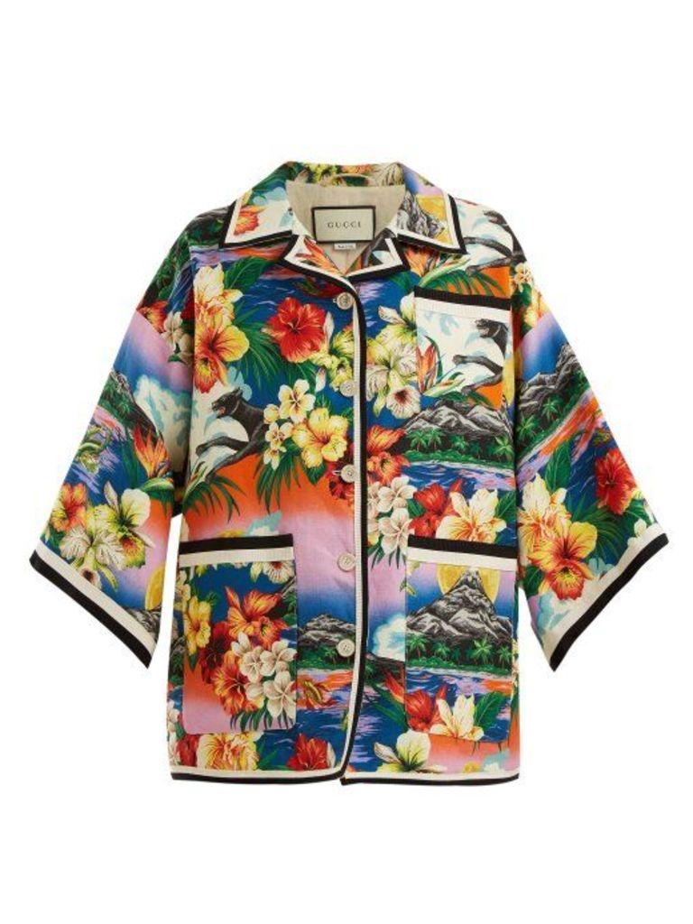 Gucci - Hawaiian Print Oversized Linen Jacket - Womens - Multi
