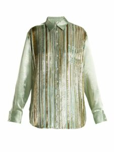Sies Marjan - Sander Velvet-stripe Silk-blend Shirt - Womens - Light Green