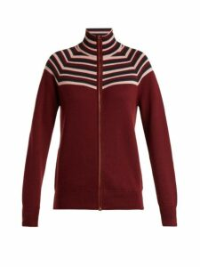 Gabriela Hearst - Delia Striped Cashmere Blend Cardigan - Womens - Burgundy Multi