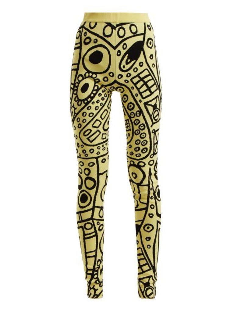 Colville - Abstract Jacquard High Rise Leggings - Womens - Black Yellow