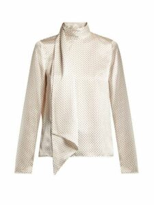 Erdem - Yvonna Polka Dot Print Silk Blouse - Womens - White Multi