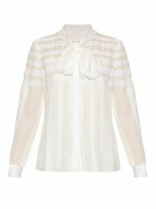 Oscar De La Renta - Long Sleeved Lace Trimmed Silk Blouse - Womens - White