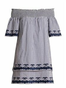 Bliss And Mischief - Off The Shoulder Gingham Cotton Dress - Womens - Blue White