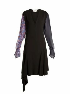 Esteban Cortázar - Contrast Sleeve V Neck Stretch Crepe Dress - Womens - Black