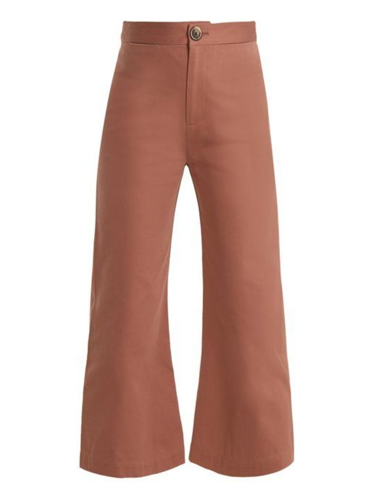Sea - Sailor Kick Flare Cotton Cropped Trousers - Womens - Pink