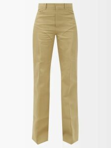 Valentino - High Rise Straight Leg Cotton Blend Trousers - Womens - Red Multi