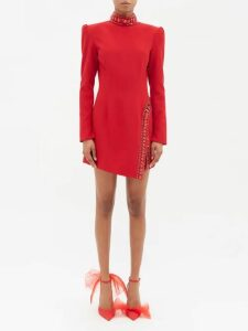 The Attico - Pat Hound's-tooth Checked Satin Wrap Dress - Womens - Black Red Print