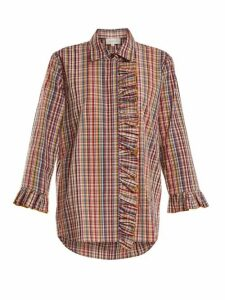 Isa Arfen - Ruffle-trimmed Checked Cotton Shirt - Womens - Multi