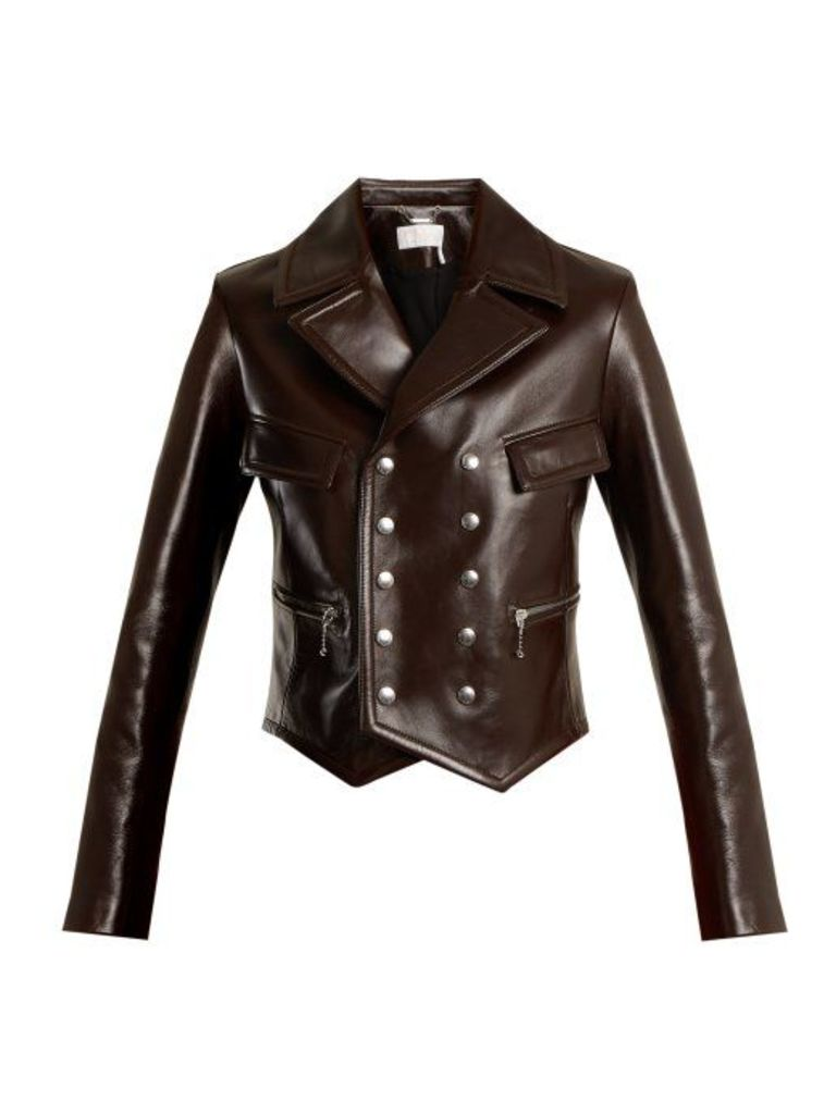 Chloé - Double Breasted Leather Jacket - Womens - Brown