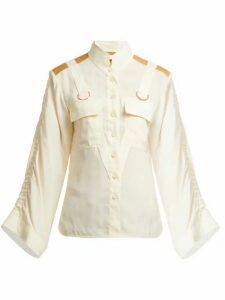 Chloé - Mandarin-collar Patch-pocket Blouse - Womens - Cream