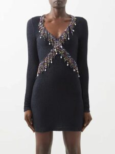 REDValentino - Floral-embroidered Cotton-mesh Dress - Womens - Black Multi