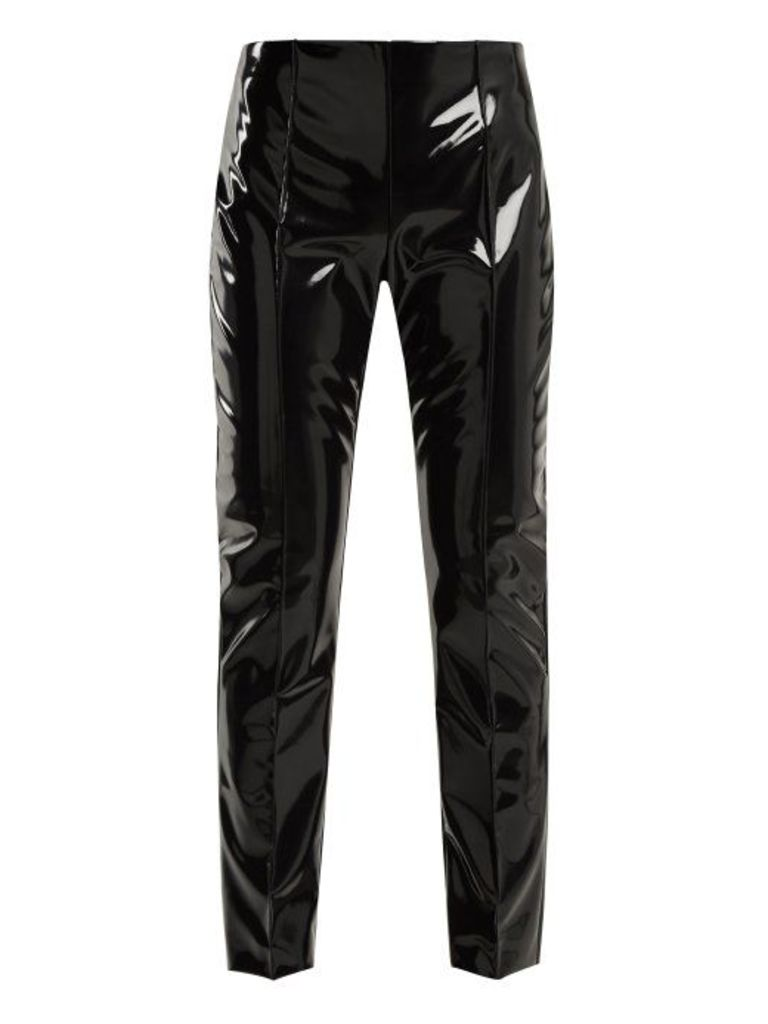 Valentino - Slim Leg Vinyl Trousers - Womens - Black