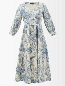 Balenciaga - Ruffled Tie Neck Floral Print Plissé Blouse - Womens - White Print