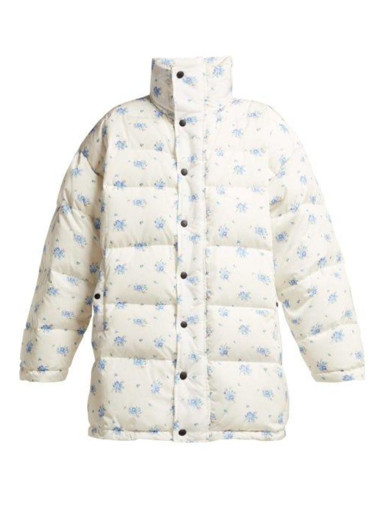 Balenciaga - Oversized Padded Down Filled Jacket - Womens - White Print
